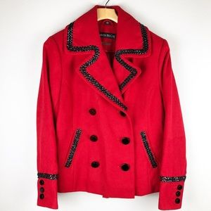 Pamela McCoy Red Blazer Jacket Black Trim Medium